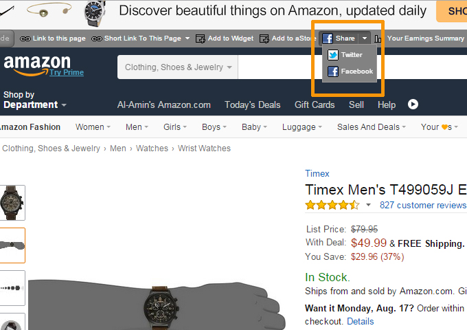Amazon Affiliate Social Share