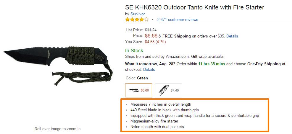 Amazon Bullet List Features