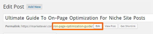 On Page Optimization URL