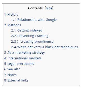 On-Page-Optimization Wikipedia Table of Contents