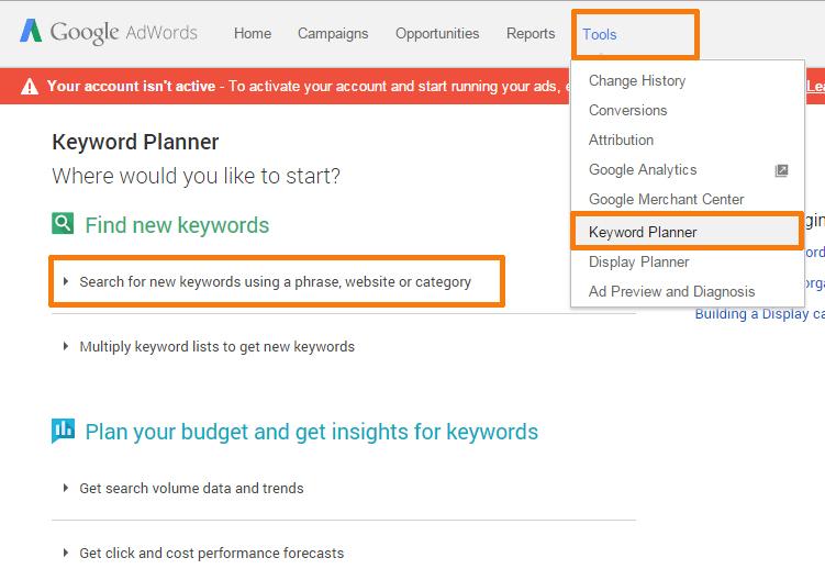 Google Keyword Planner Keyword Research 1