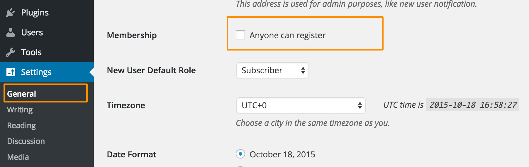 WordPress Default User Registration Settings