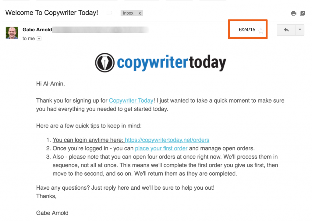 CopyWriterToday Welcome Email